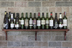 Set of Alcohol bottles on wall. Royalty Free Stock Photography