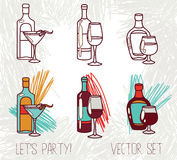 Set of alcohol bottles Royalty Free Stock Images