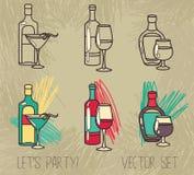 Set of alcohol bottles Royalty Free Stock Image