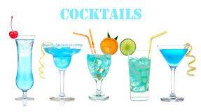Set of alcohol cocktails Blue Hawaiian, Martini, Cosmopolitan Royalty Free Stock Photo