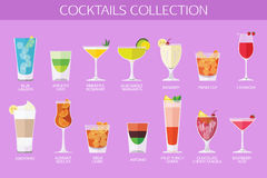 Set of alcohol cocktails icons. Flat style design Stock Photos