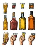 Set alcohol drinks with bottle, glass and hand holding beer, whiskey, tequila Stock Photos
