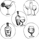 Set of alcohol drinks. Ink drawing wineglass and bottles,hand drawn vector illustration Stock Photo