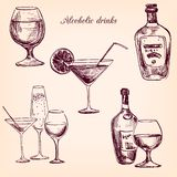 Set of alcohol drinks. Ink drawing wineglass and bottles,hand drawn vector illustration Royalty Free Stock Images