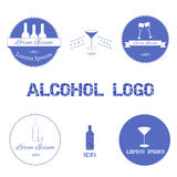 Set of alcohol logos. For your design Stock Images