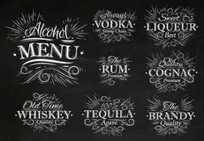 Set alcohol menu chalk Stock Photo
