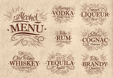 Set alcohol menu retro Royalty Free Stock Photos