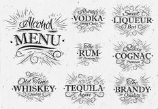 Set alcohol menu vintage Royalty Free Stock Photography