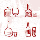Set of alcohol's bottles and wineglasses on grung Stock Photo