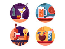 Set of alcoholic beverages Royalty Free Stock Images