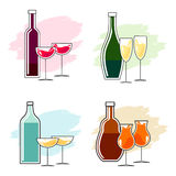 Set of alcoholic beverages and glasses Royalty Free Stock Photography
