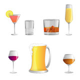 Set of Alcoholic beverages ,  icon Royalty Free Stock Photography