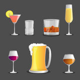 Set of Alcoholic beverages ,  icon Royalty Free Stock Images