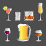 Set of Alcoholic beverages ,  icon Stock Photo