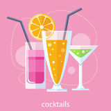 Set of alcoholic cocktails Royalty Free Stock Photo