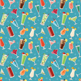 Set of alcoholic cocktails drinks party alcohol seamless pattern vector illustration. Royalty Free Stock Photo