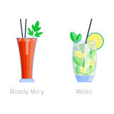 Set of alcoholic cocktails fruit cold drinks tropical cosmopolitan freshness and party alcohol sweet tequila stock illustration