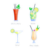 Set of alcoholic cocktails isolated fruit cold drinks tropical cosmopolitan freshness collection and party alcohol sweet Royalty Free Stock Image