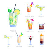 Set of alcoholic cocktails isolated fruit cold drinks tropical cosmopolitan freshness collection and party alcohol sweet Royalty Free Stock Photos