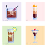 Set of alcoholic cocktails isolated fruit cold drinks tropical cosmopolitan freshness collection and party alcohol sweet Stock Images