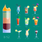 Set of alcoholic cocktails isolated fruit cold drinks tropical cosmopolitan freshness collection and party alcohol sweet stock illustration