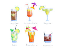 Set of alcoholic cocktails isolated fruit cold drinks tropical cosmopolitan freshness collection and party alcohol sweet. Tequila vector illustration. Juice Stock Photo