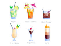 Set of alcoholic cocktails isolated fruit cold drinks tropical cosmopolitan freshness collection and party alcohol sweet royalty free illustration