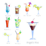 Set of alcoholic cocktails isolated fruit cold drinks tropical cosmopolitan freshness collection and party alcohol sweet. Tequila vector illustration. Juice Royalty Free Stock Images