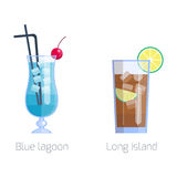 Set of alcoholic cocktails isolated fruit cold drinks vector illustration. royalty free illustration