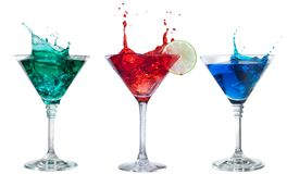 Set of alcoholic cocktails isolated on white stock images