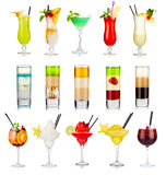 Set of alcoholic cocktails isolated on white Royalty Free Stock Photography