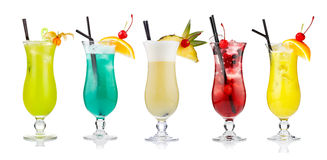 Set of alcoholic cocktails isolated on white Royalty Free Stock Images