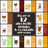 Set Of Alcoholic Drinks And Cocktails With Recipes. Stock Image