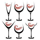 Set of alcoholic glass. Set of calligraphy alcoholic glass Royalty Free Stock Photos