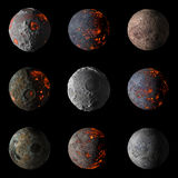 Set of Alien hot planets on black background 3d rendering. Set of Alien hot planets on black background isolated 3d rendering Stock Image
