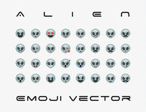 Set of  alien icon. Vector isolated on white background. Emoji vector. Extraterrestrial smile icon set. Emoticon icon web Stock Photos