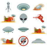 Set of alien invasion Stock Images