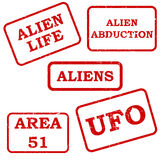 Set of alien stamps Royalty Free Stock Image