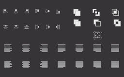 Set of align shapes, text and objects  icons for web site Royalty Free Stock Image