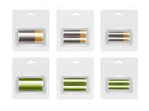 Set of Alkaline AA, AAA, C Batteries in Blister. Vector Set of Black Yellow Golden Green Glossy Alkaline AA, AAA, C Batteries in Transparent Blister Packed for Royalty Free Stock Photos