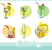 Set of alkohol drinks images in grunge style. Call Royalty Free Stock Image