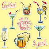 Set of alkohol drinks images and hand written text Stock Images