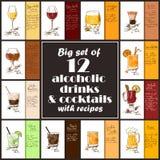 Set Alkoholiczni napoje I koktajle Z przepisami ilustracja wektor