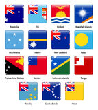 Set of all flags of the countries of Oceania Royalty Free Stock Images