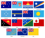 Set of all flags of the countries of Oceania Stock Photos