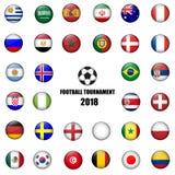 Set of All Nation team Football Badge 3D vector Designed illustr. Ation. Football tournament 2018 Royalty Free Stock Image