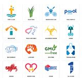 Set of all in one, house, savage, gmo free, bus company, hazardous waste, realestate, badminton club, first class icons. Set Of 16 simple  icons such as all in Stock Images