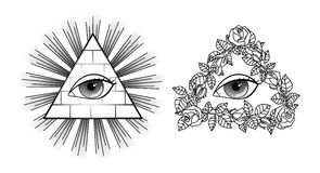 Set All seeing eye, pyramid, light and roses Stock Image