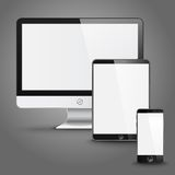 Set of all size screen devices for site preview Stock Photos