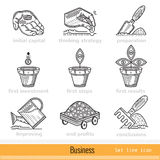 Set of All Steps of Business Outline Web Icons Royalty Free Stock Images